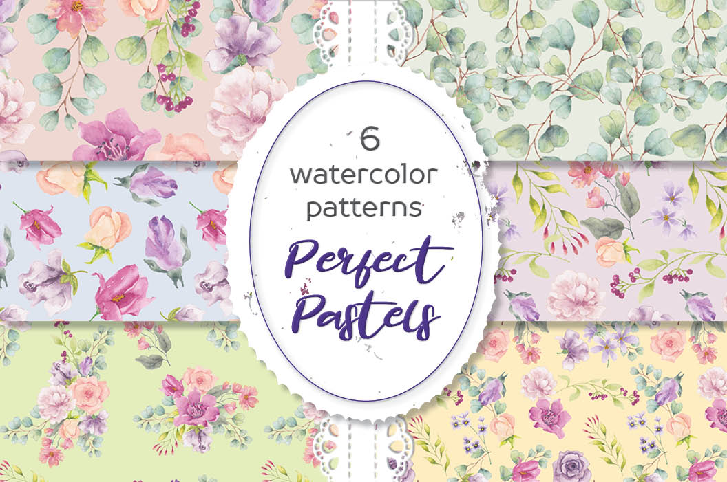 Perfect pastels watercolor patterns example image 1