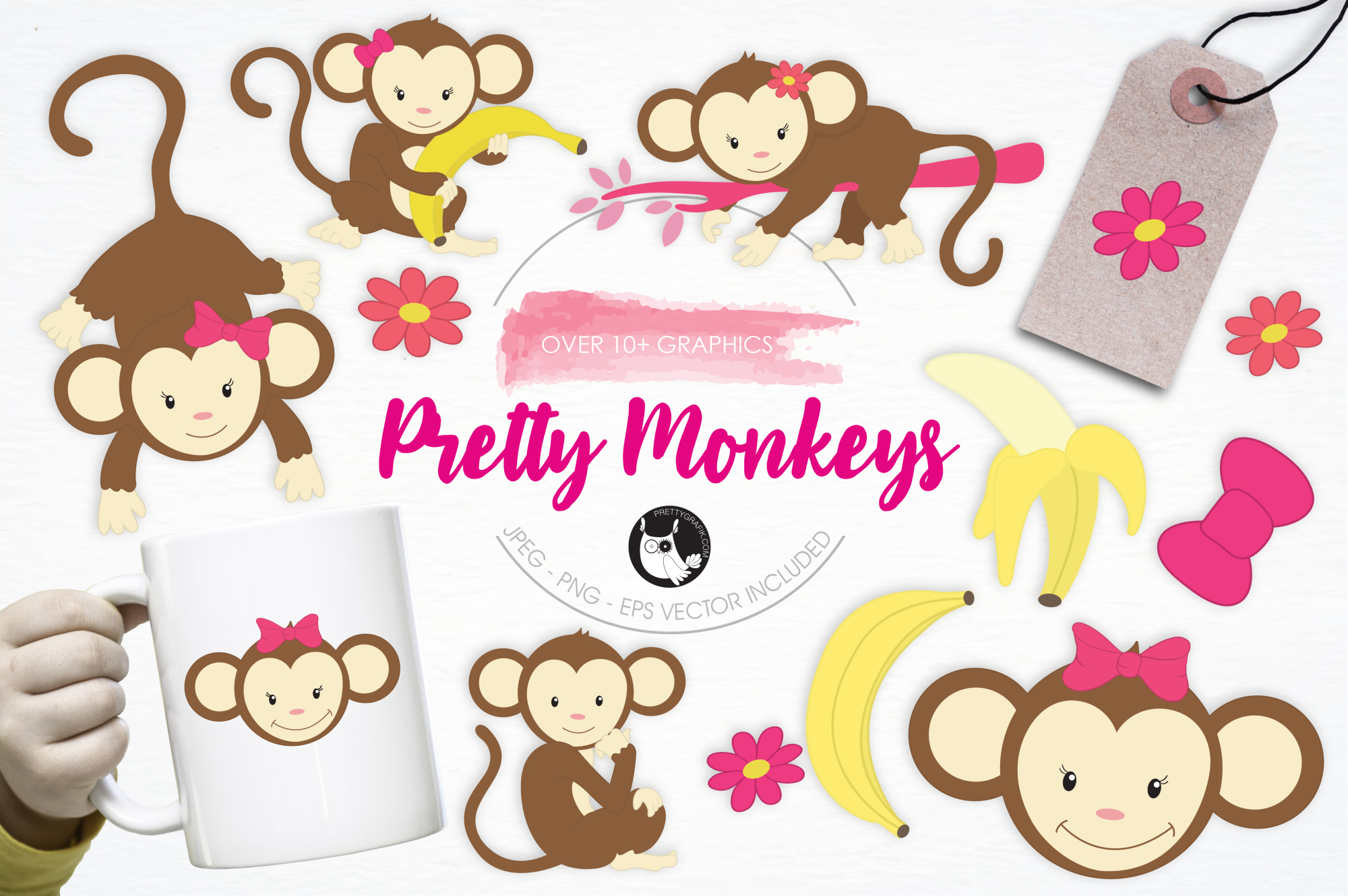 Pretty Monkeys graphics and illustrations example image 1