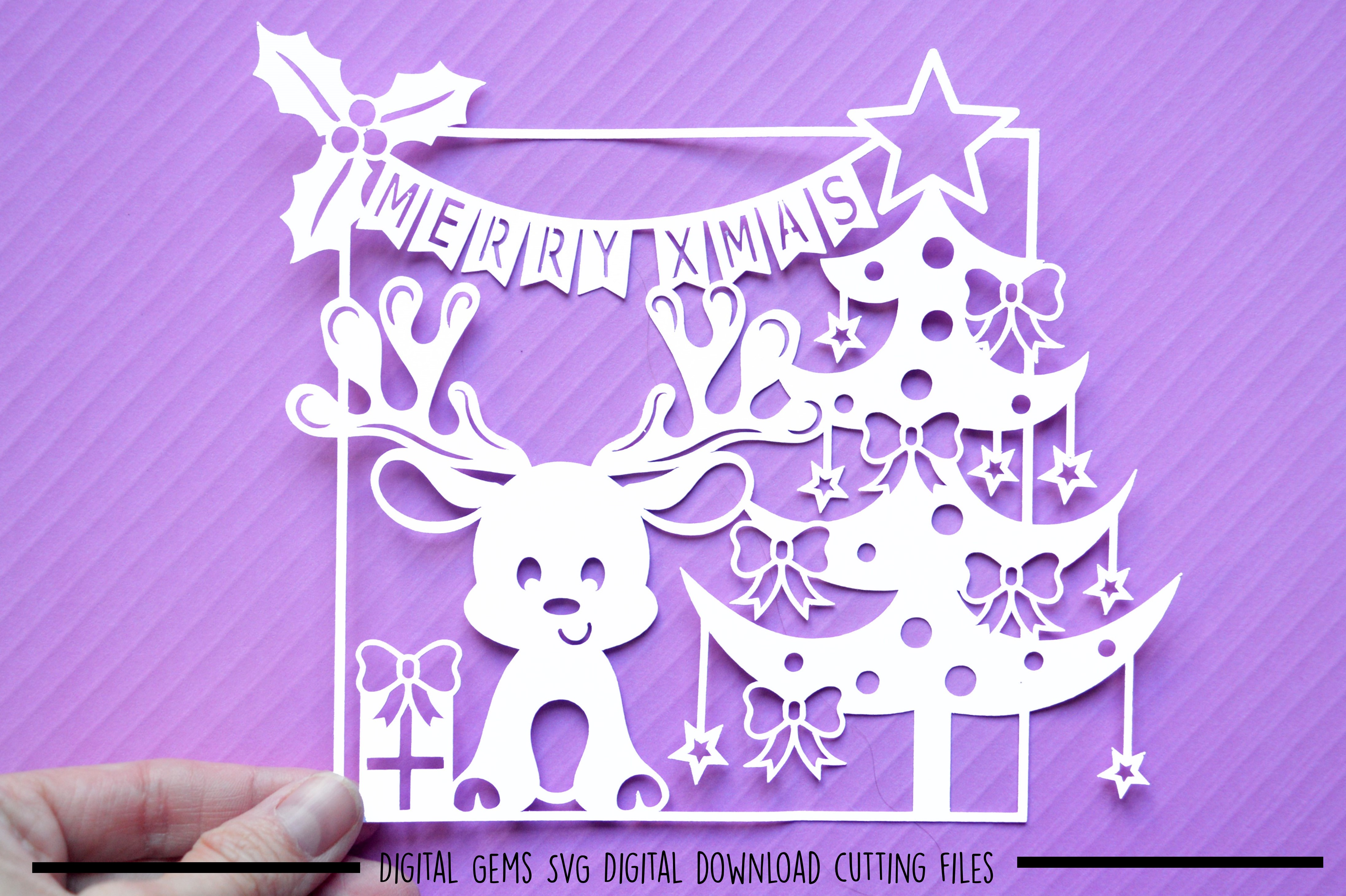 Christmas reindeer paper cut SVG DXF EPS files example image 2