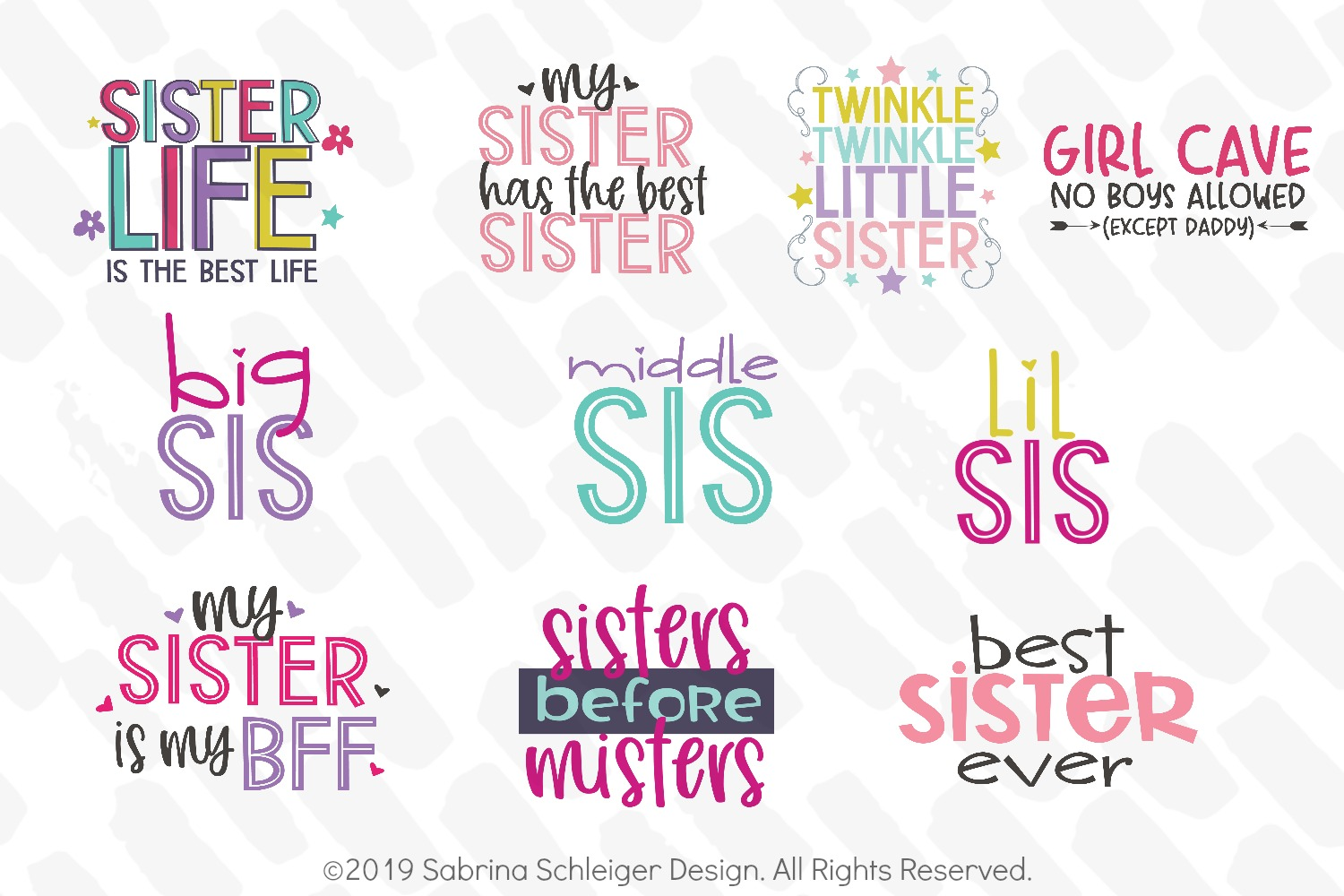 Sister SVG Bundle -10 Girl Cutting Files example image 2