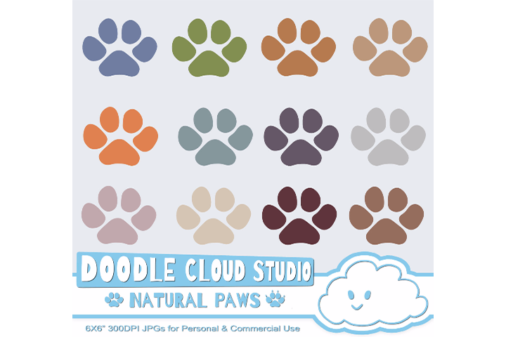 Natural Paw Prints Cliparts, Dog  Cat Paws, Pet Clip Arts, Animal Paws, Transparent  White Backgrounds, Instant Download, Commercial Use example image 2