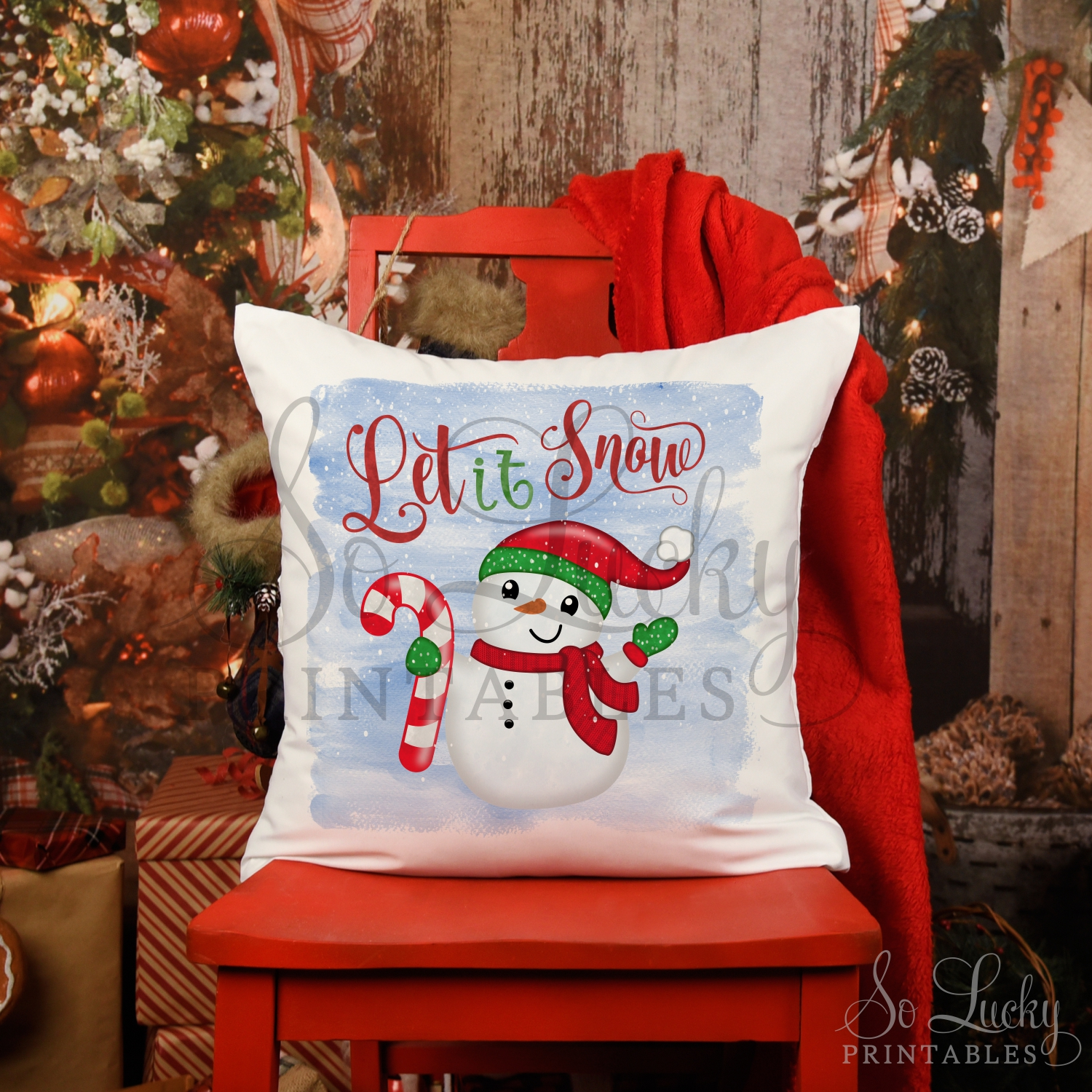 Let it snow Christmas snowman printable sublimation design example image 2