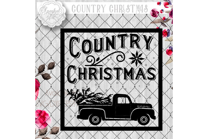 Vintage COUNTRY Christmas SVG File, Cutting File, Vector Clipart Holiday Decor, Silhouette Cutting file design Available in Svg,Dxf,Eps,Png example image 2