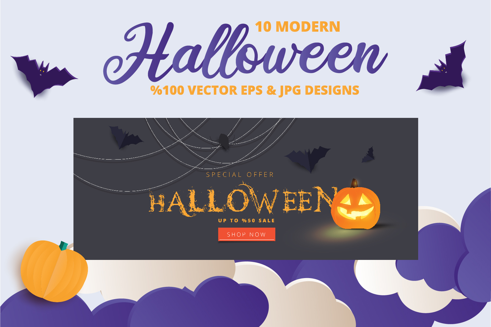 Halloween Sale header or banner design and invitation flyer example image 11