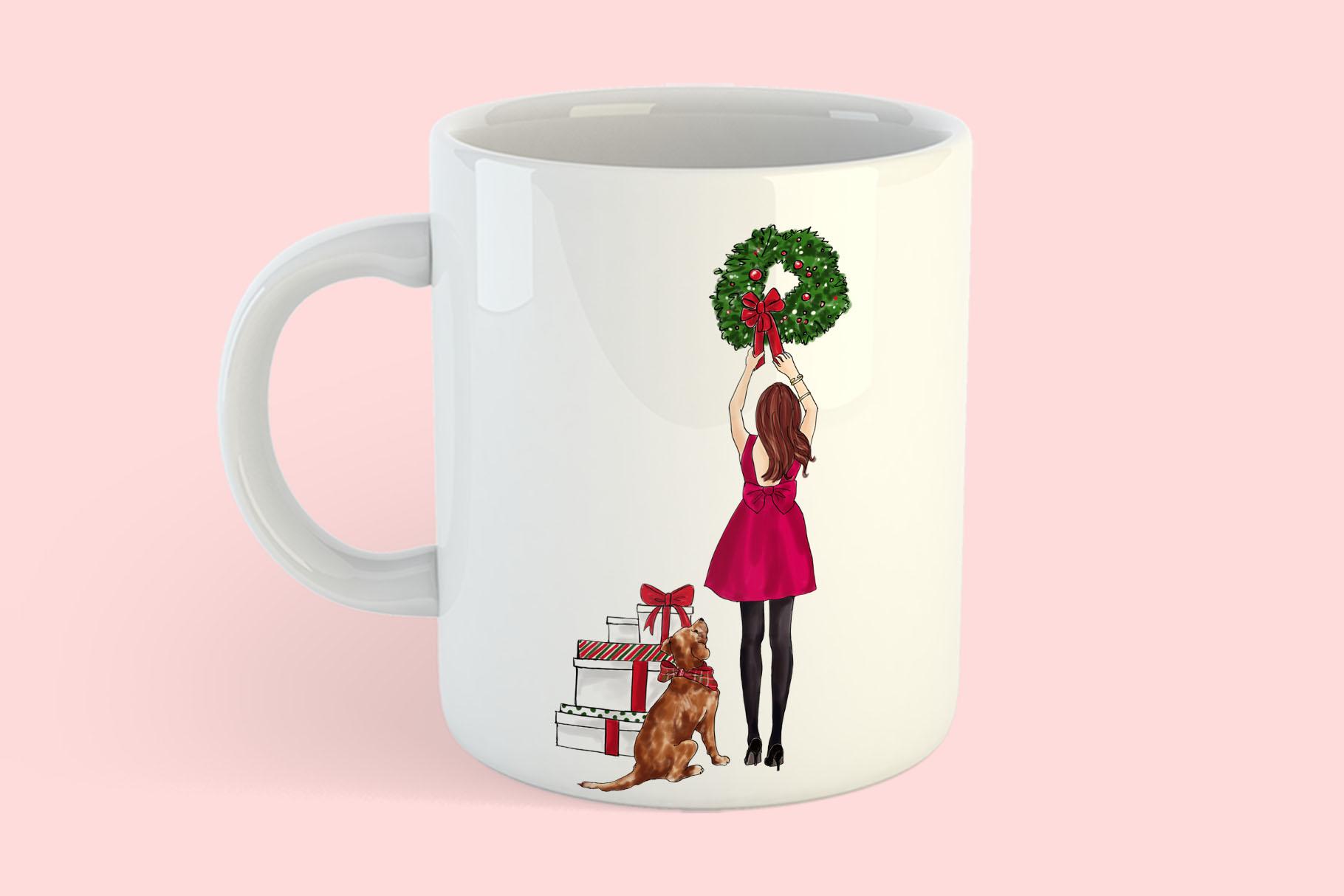 Fashion illustration - Christmas Girl 7 - Redhead example image 8