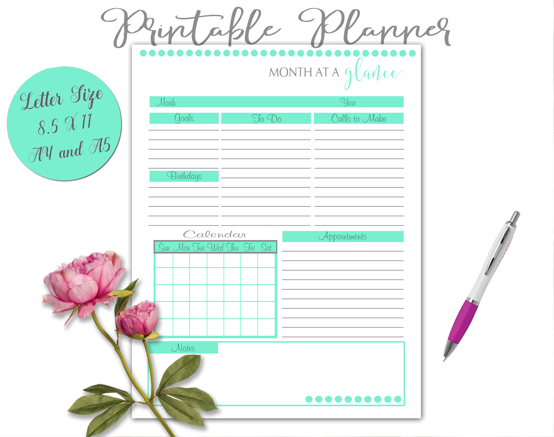 Printable Daily Weekly Monthly Planner Sheets example image 9
