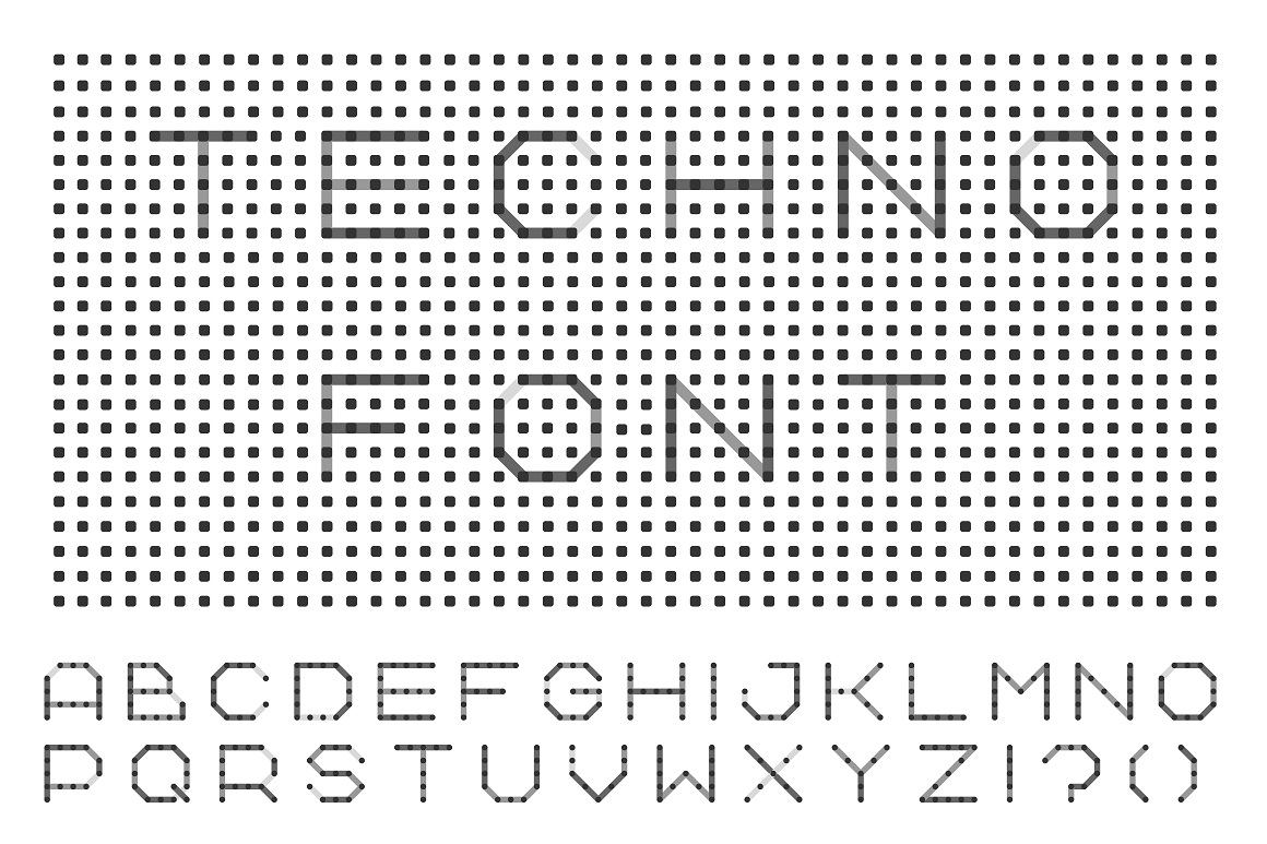 Dotted font - digital techno design example image 1