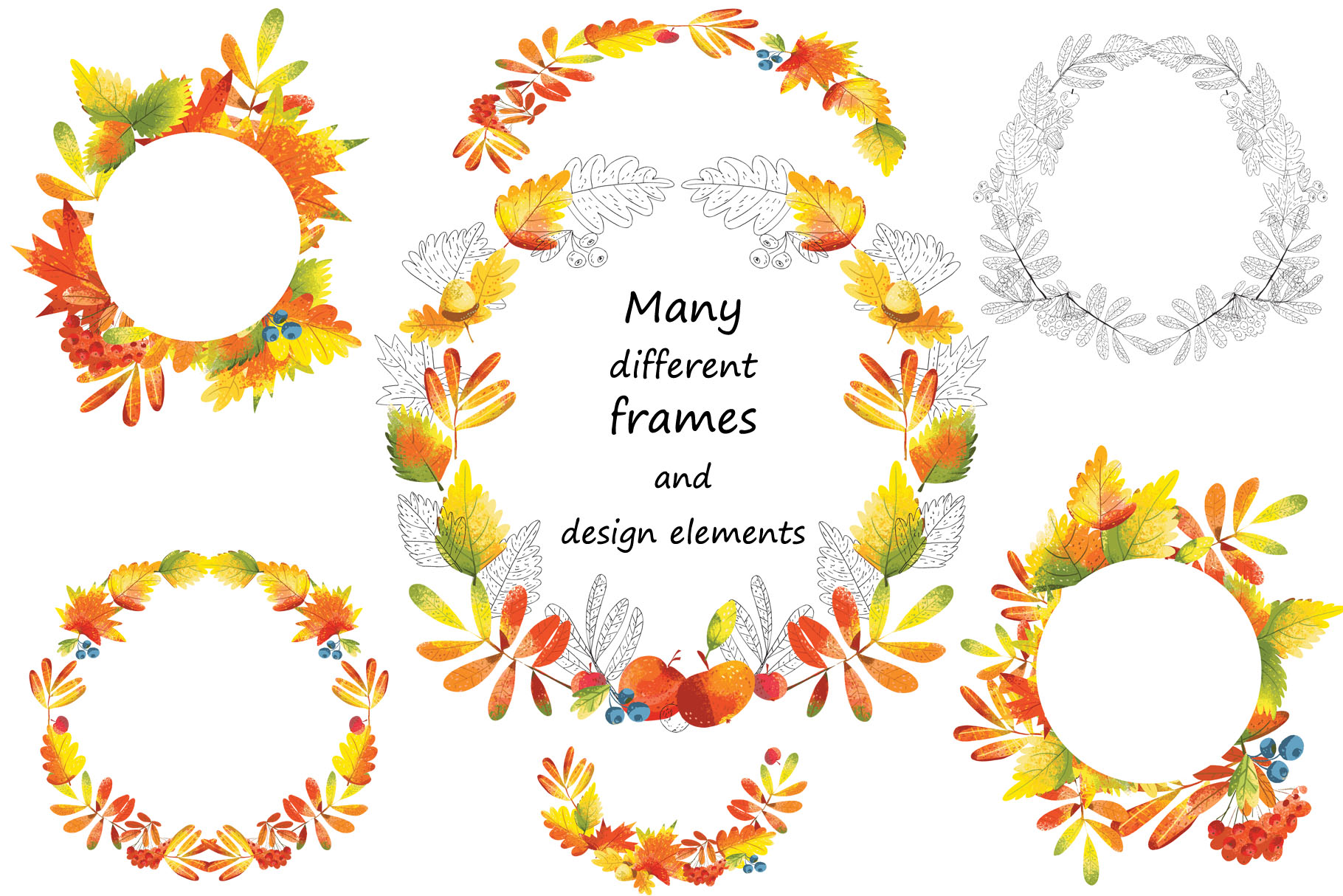 Autumn Leaves - over 30 objects, frames, patterns example image 3