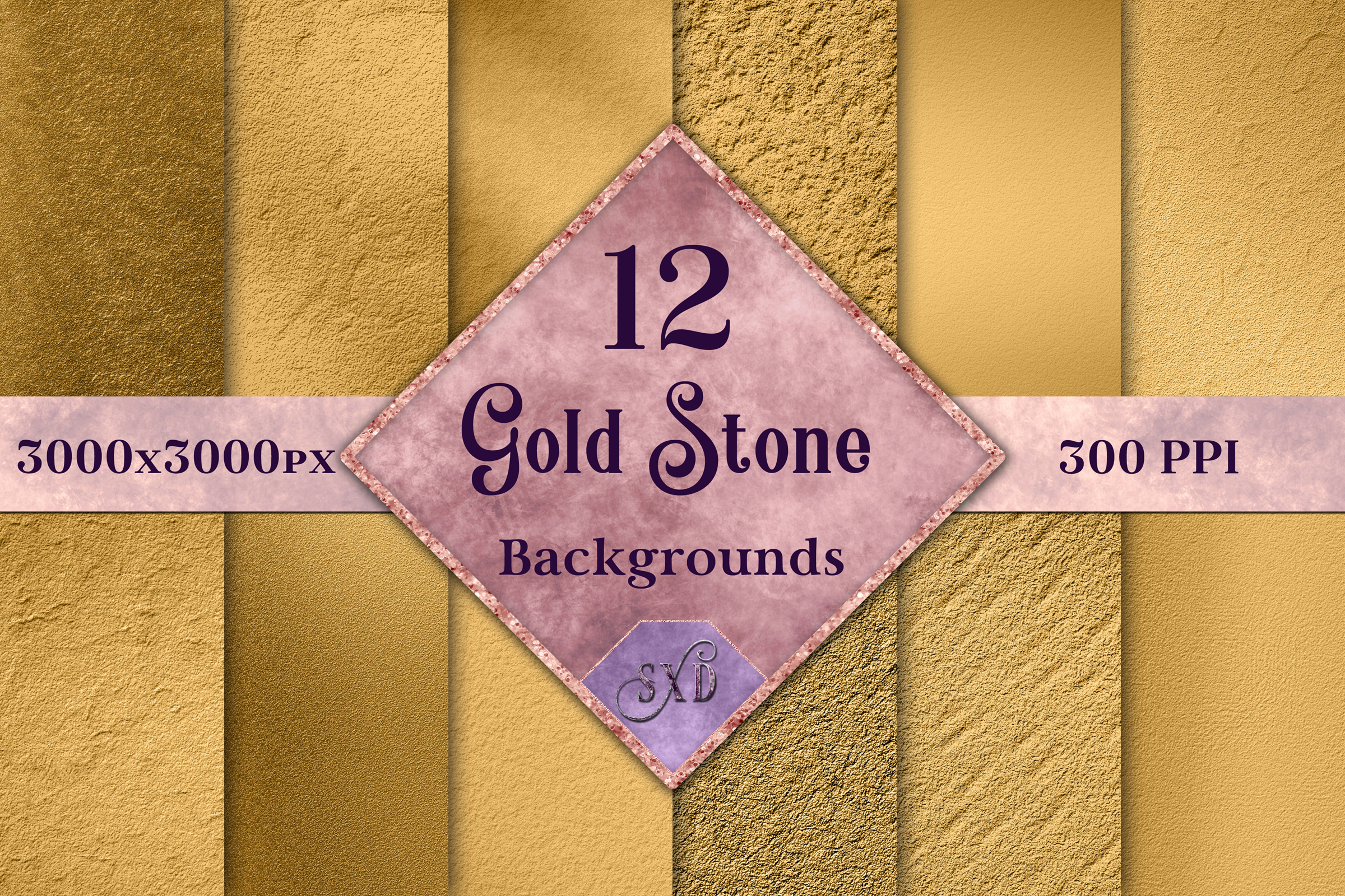 Gold Stone Backgrounds - 12 Image Textures Set example image 1
