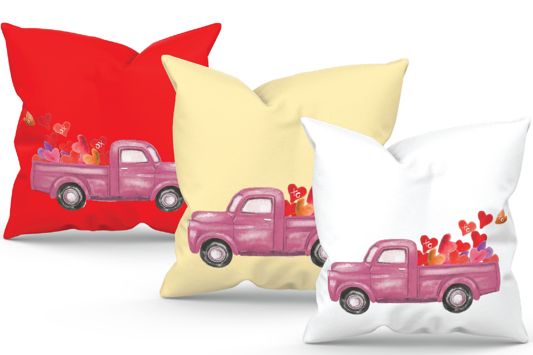 Watercolor vintage Valentine truck load with kisses XOXO png example image 5