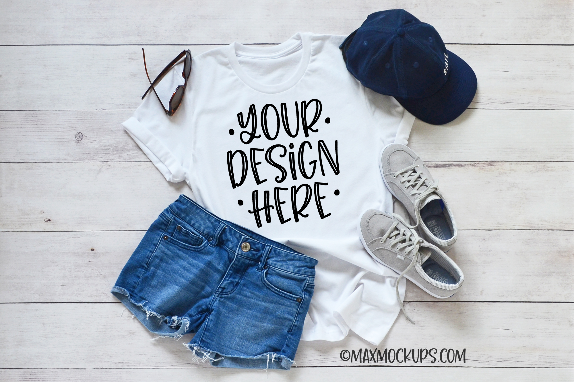 White t-shirt Mockup Bella Canvas, sandals spring summer example image 1