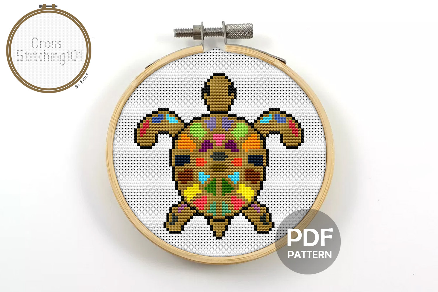 Turtle Colorful Cross Stitch Pattern - Instant Downlod PDF example image 1
