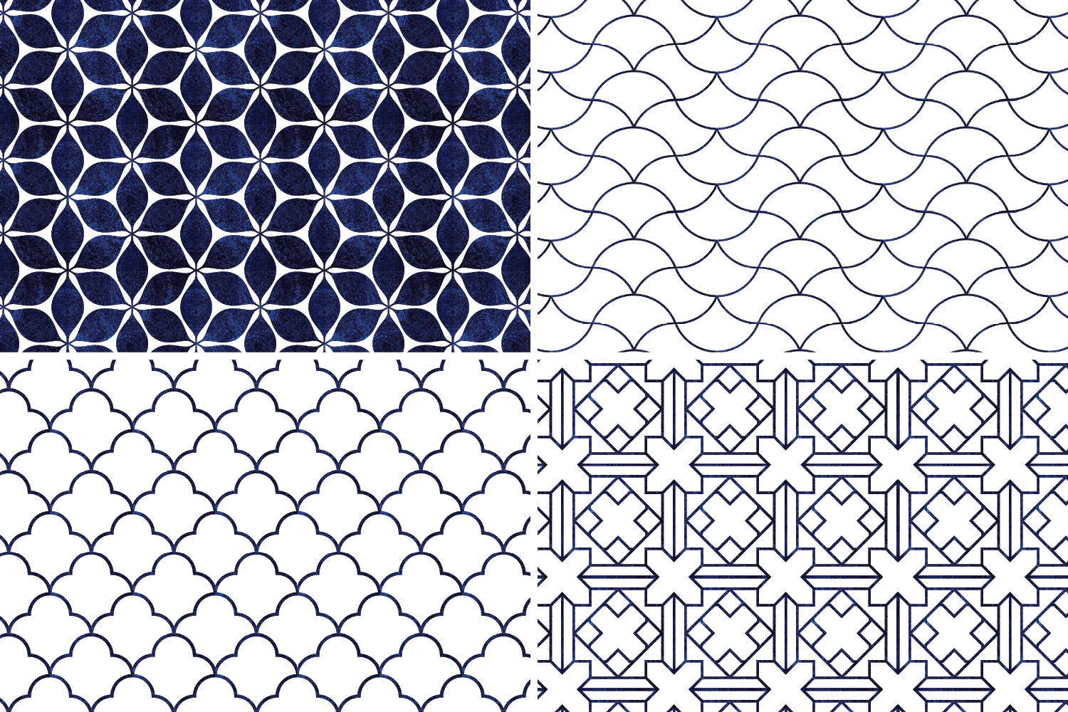 8 Seamless Moroccan Patterns - White & Blue Watercolor Set 3 example image 7