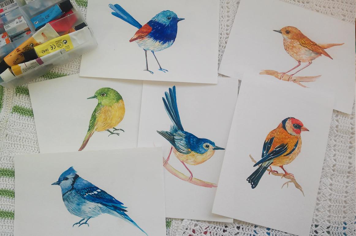 30 little birds.watercolor example image 4