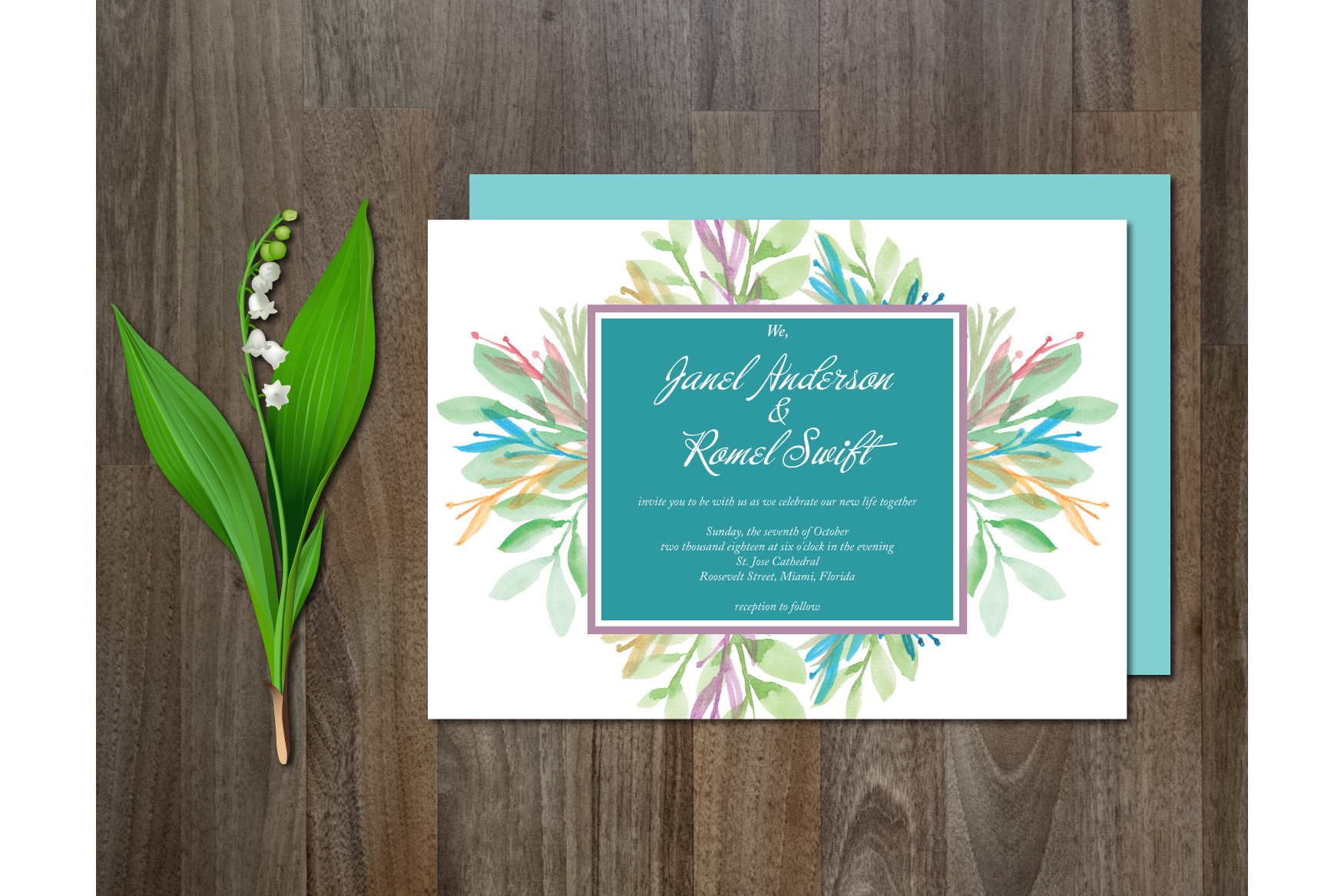 Watercolor Flower Wedding Suite example image 2