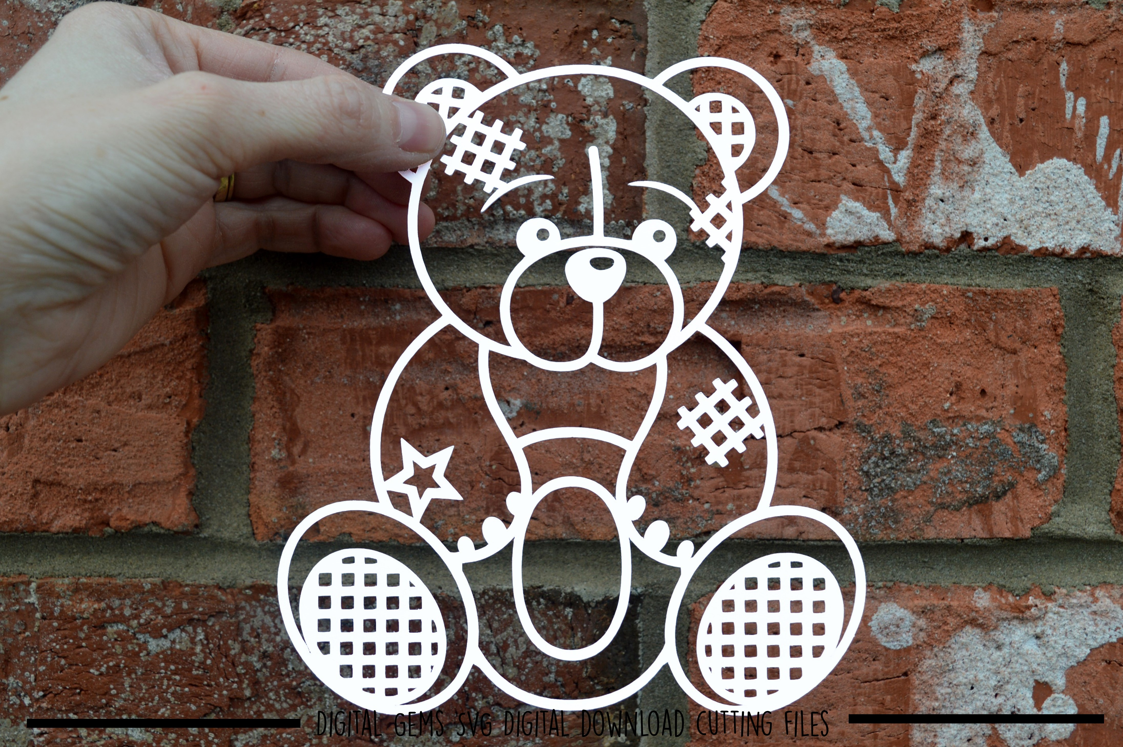 Alphabet teddy bear paper cuts SVG / DXF / EPS files example image 11