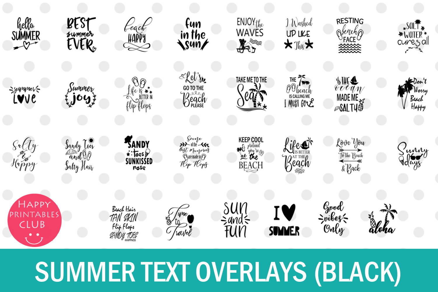 Summer Text Overlays- Summer Cards- Summer Text Clipart example image 3