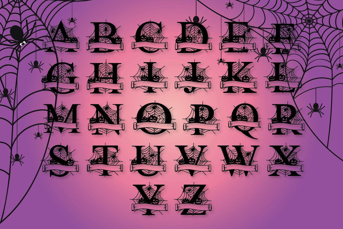 Halloween Split Monograms A-Z example image 5
