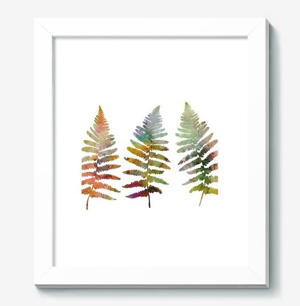 Fern leaves illustration in watercolor style example image 5