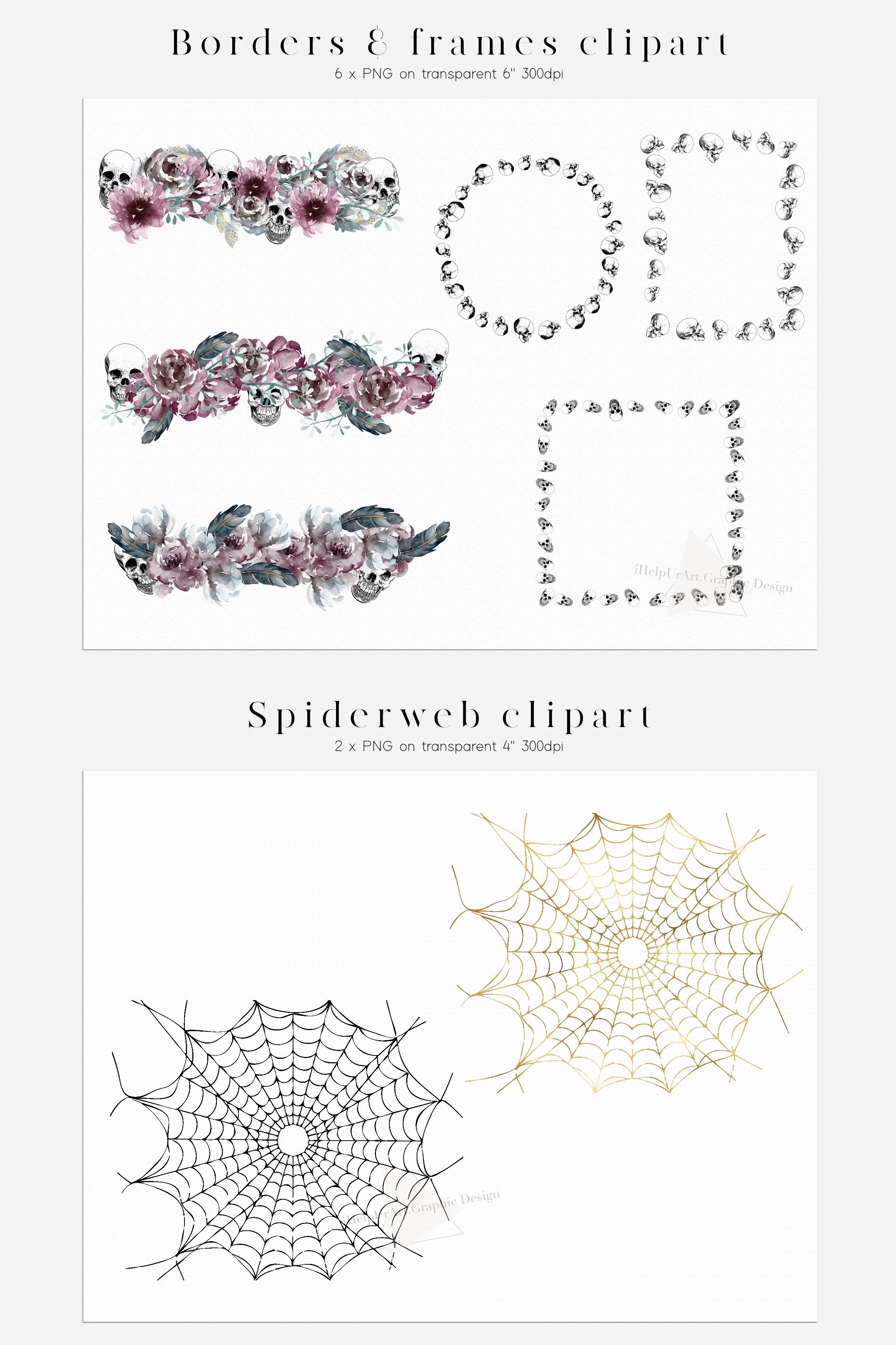 Halloween Design Bundle - Skulls and Flowers Clipart example image 5
