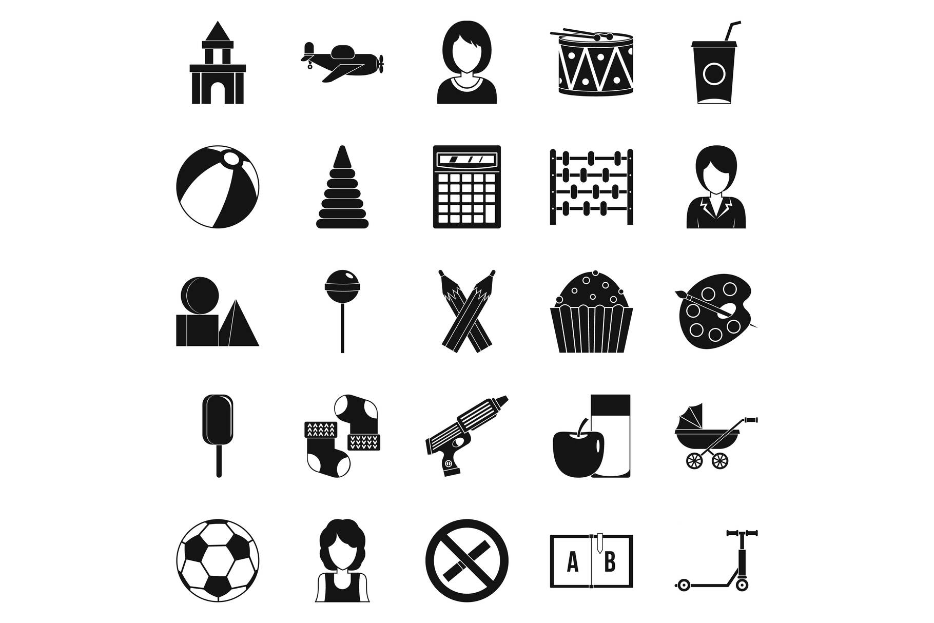 Children center icons set, simple style example image 1