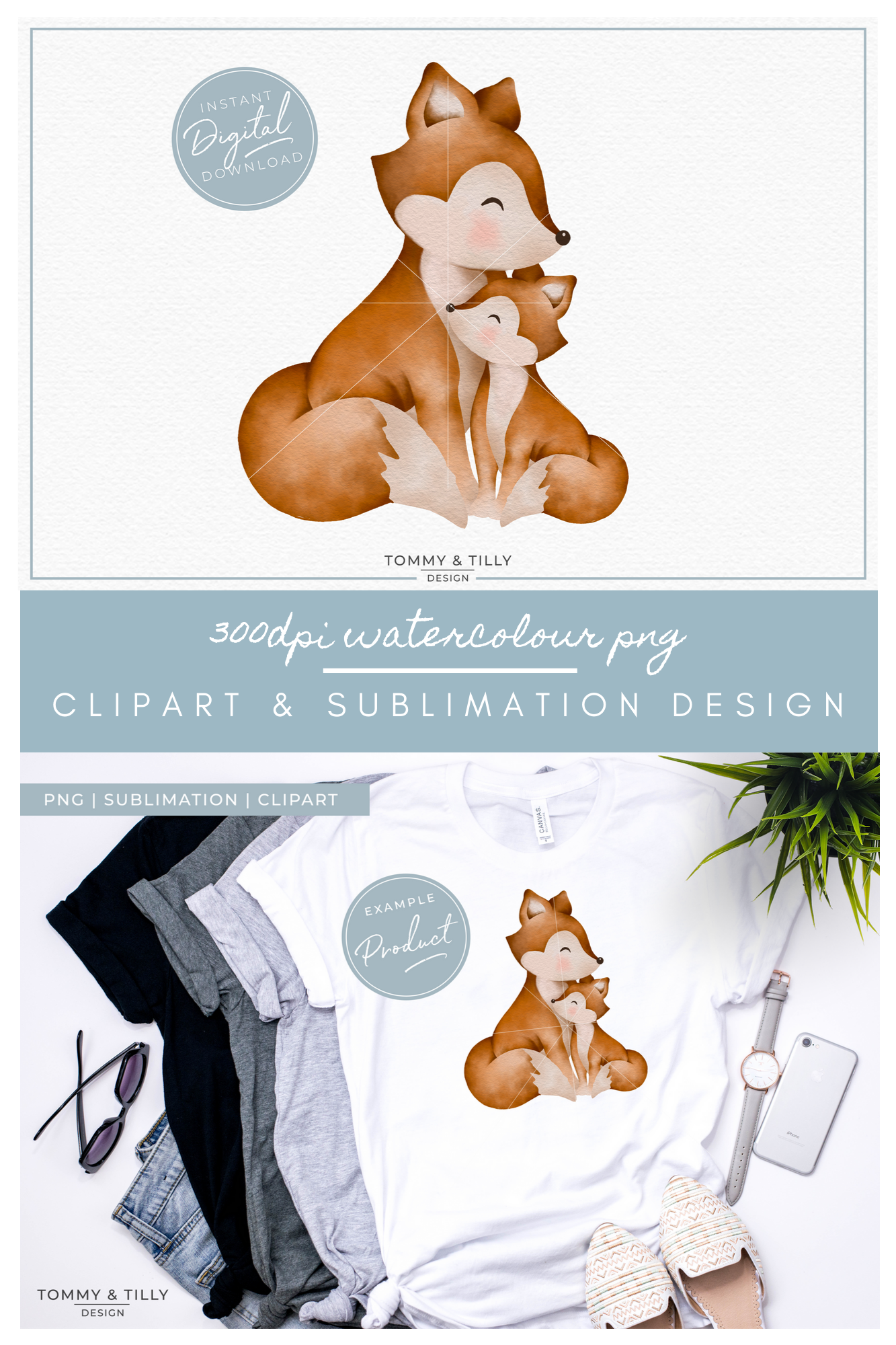 Mummy and Baby Fox - Sublimation PNG Clipart example image 5