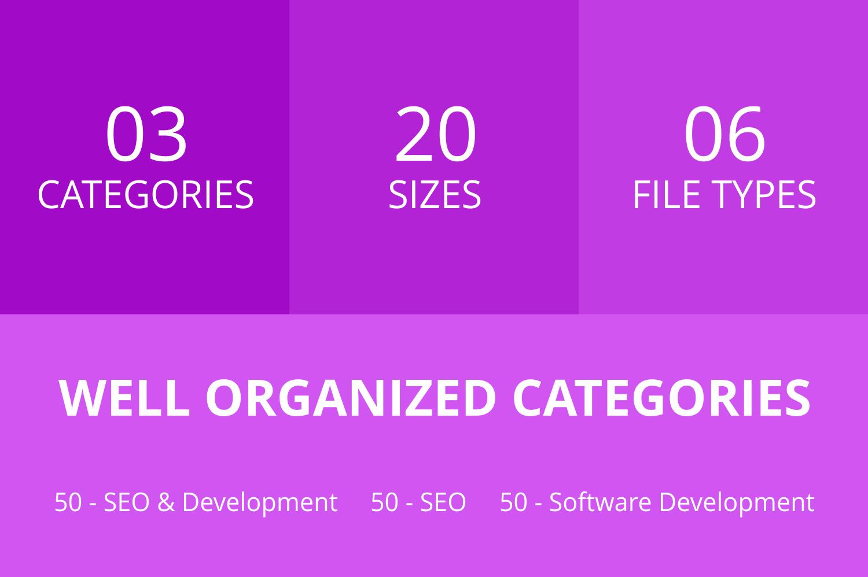 150 SEO & Development Line Icons example image 3