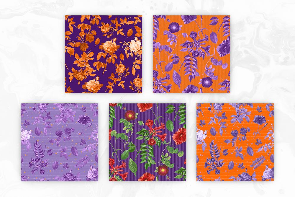 Purple & Orange Antique Botanical Seamless Backgrounds example image 3