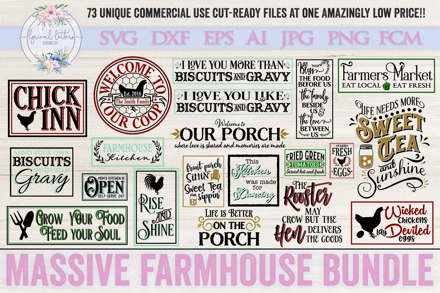 Farmhouse Bundle of 73 SVG DXF Cut File example image 2