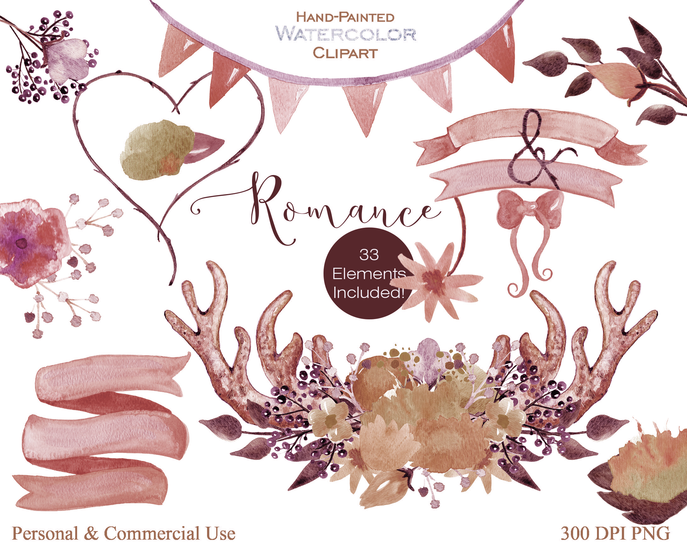 DEER ANTLER FLORAL Clipart Peach Flowers Rustic Floral Bouquets Watercolor Digital Background Paper Wedding Graphics Example