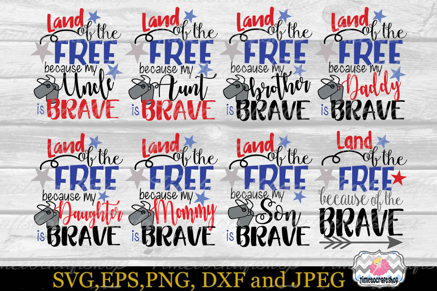 SVG, Dxf, Png Land of the Free Because of the Brave Bundle example image 1