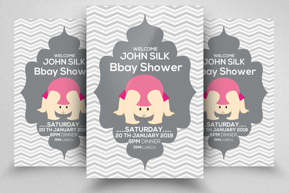 4 Baby Shower Invitation Flyers Bundle example image 5