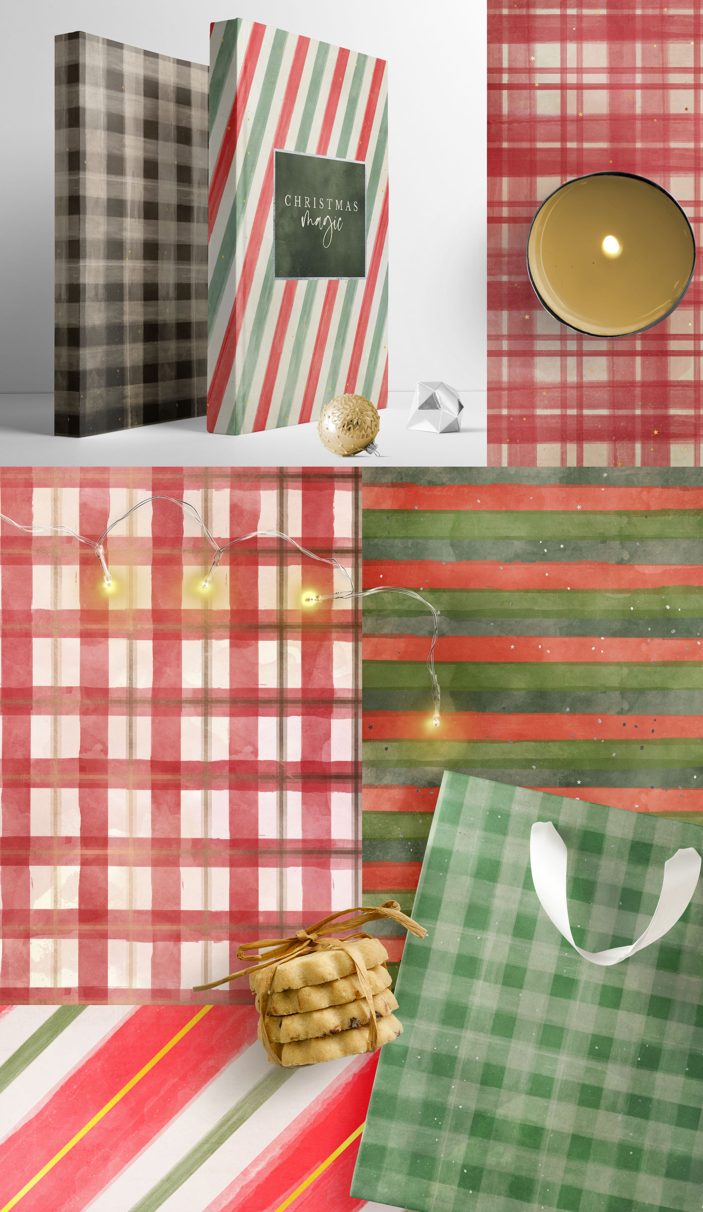 Classic Christmas Plaids and Stripes Digital Papers example image 4