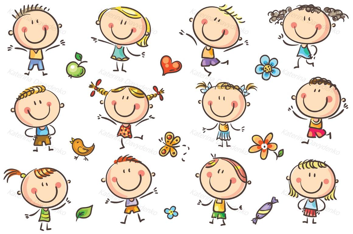 Happy Cartoon Kids Bundle, children doodle, kids doodle example image 30