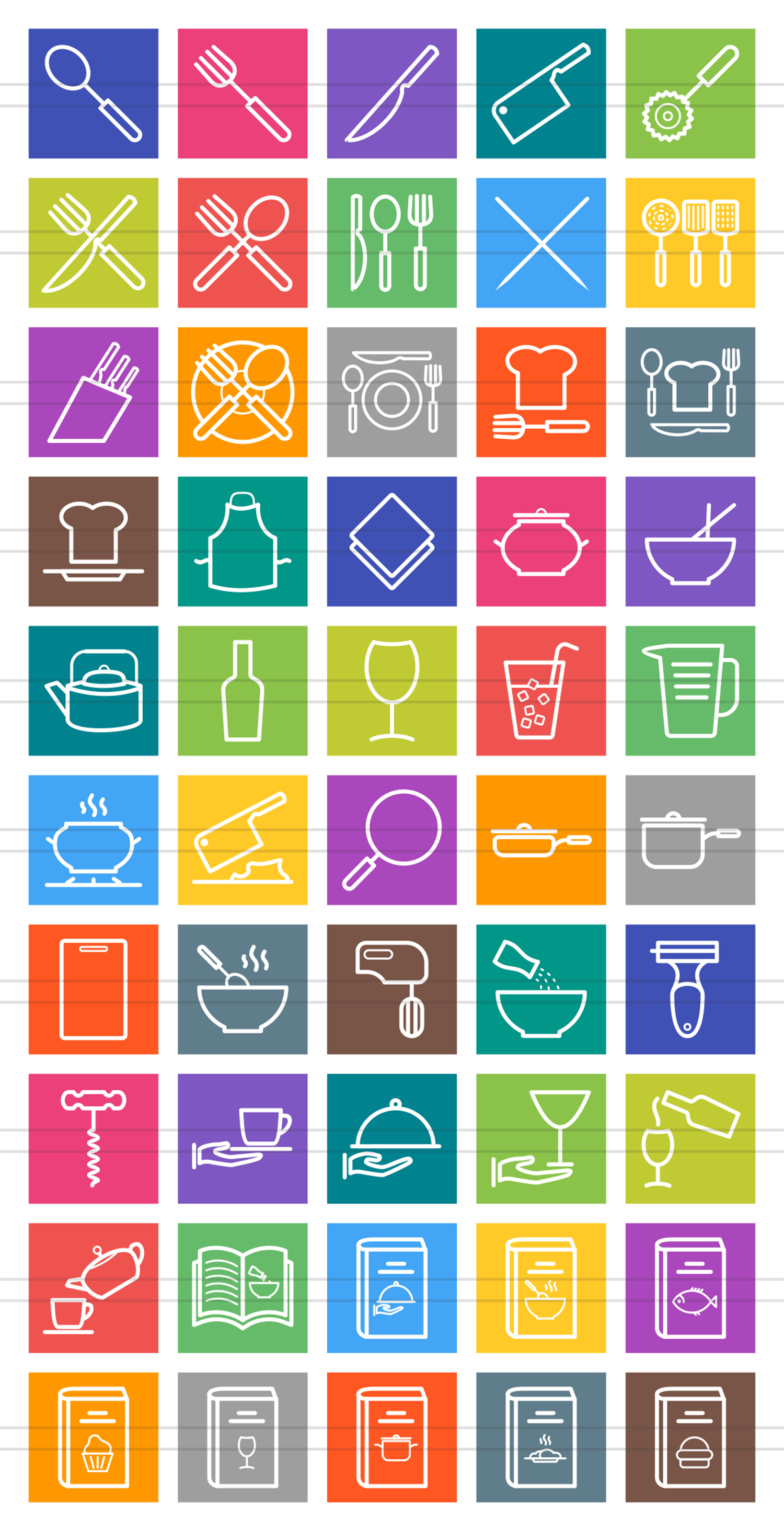 50 Kitchen Line Multicolor B/G Icons example image 2