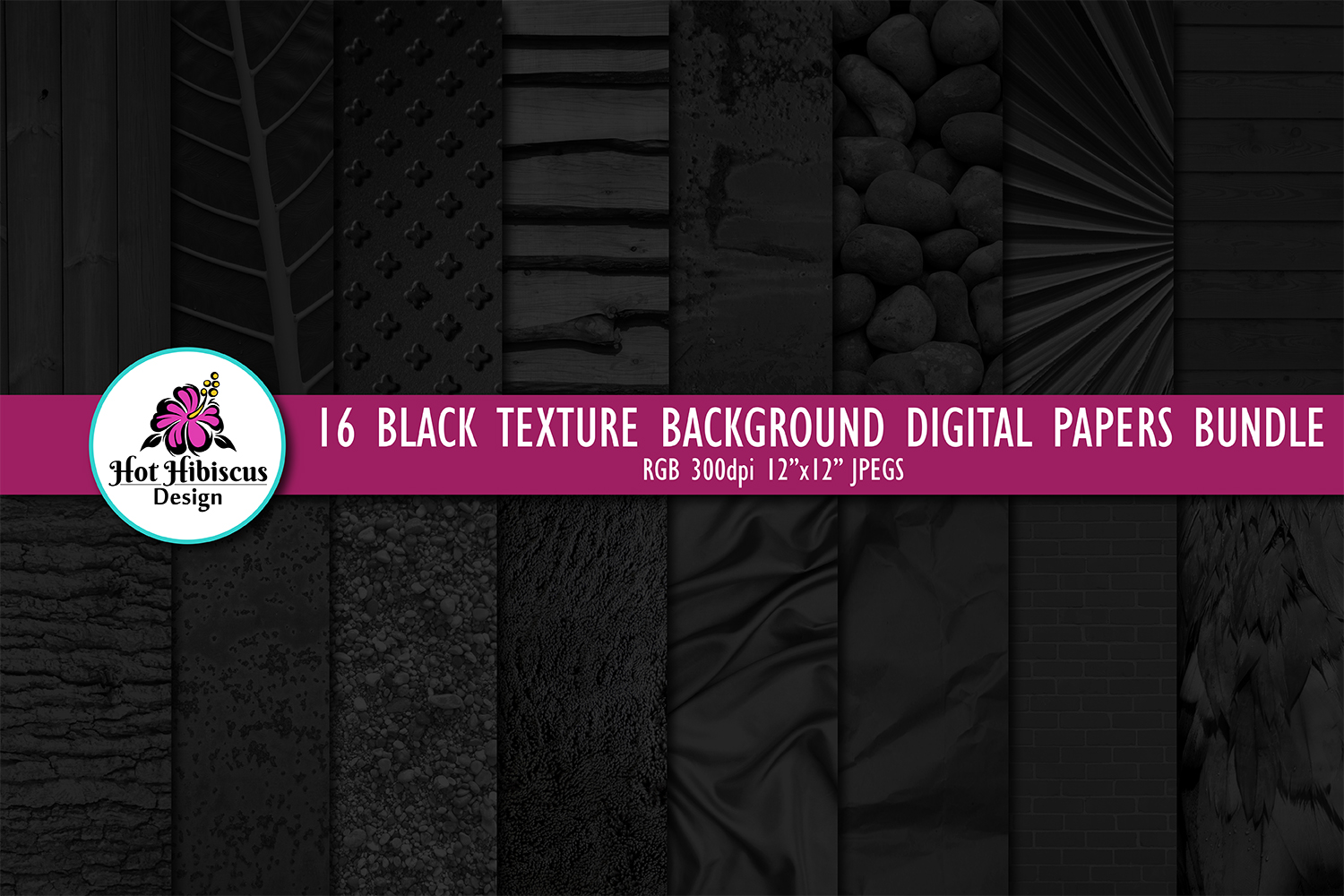 16 Black Photo Texture Background Digital Papers Bundle example image 1