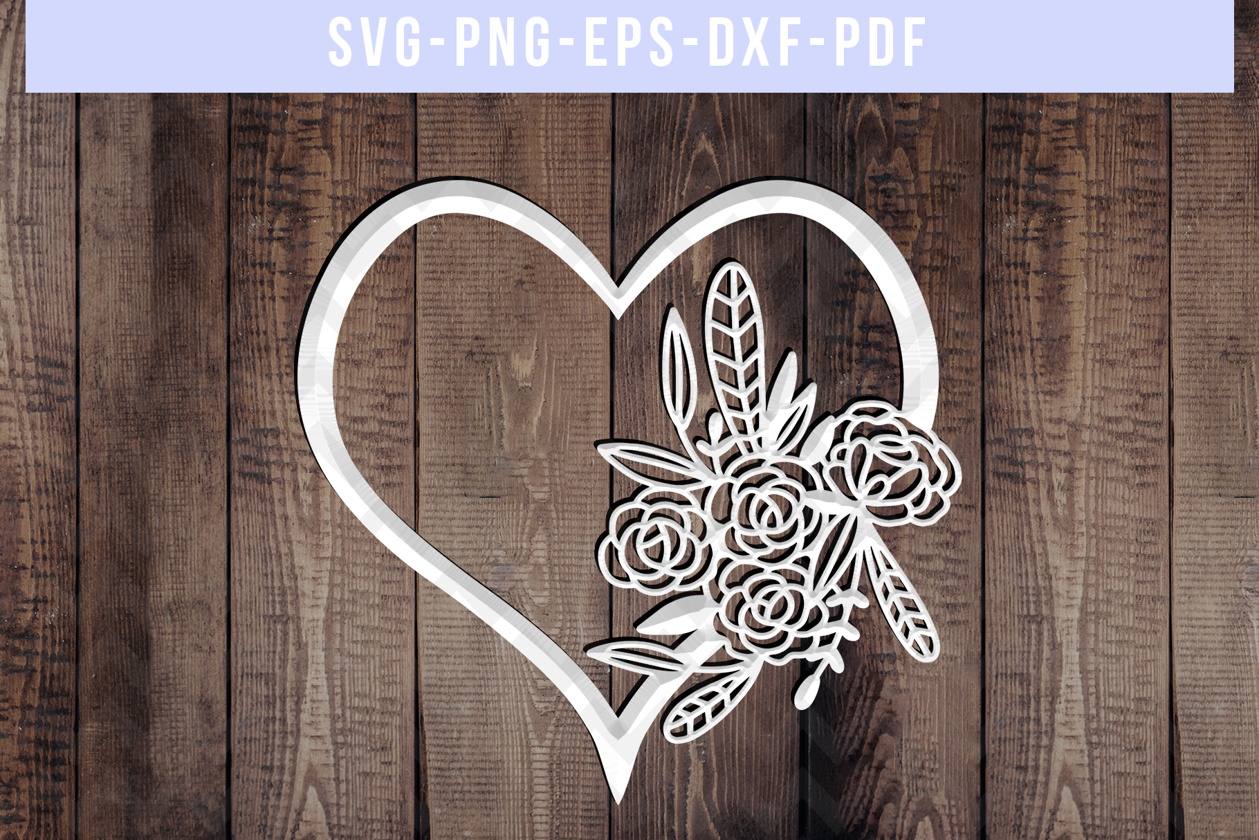 Floral Heart Papercut Template, Wedding Flower Scrapbook SVG example image 3