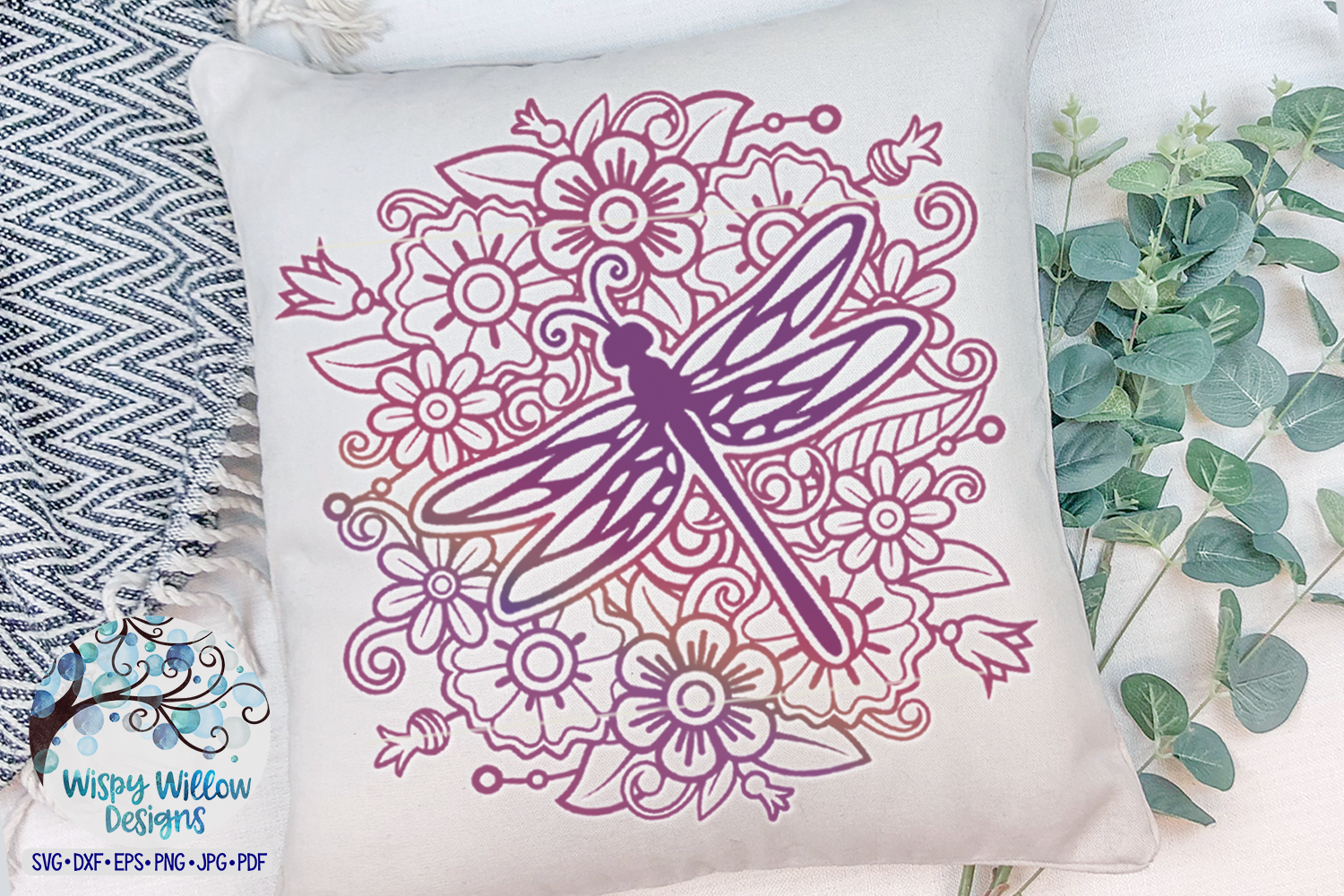 Dragonfly Mandala SVG | Dragonfly with Flowers SVG Cut File example image 2