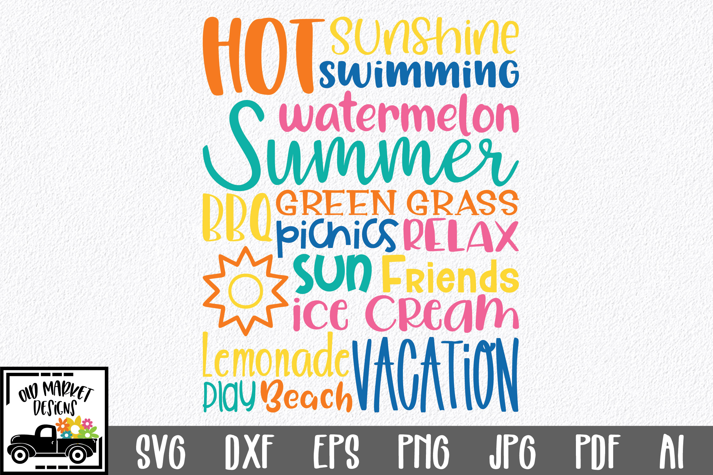 Summer Subway Art SVG Cut File example image 1