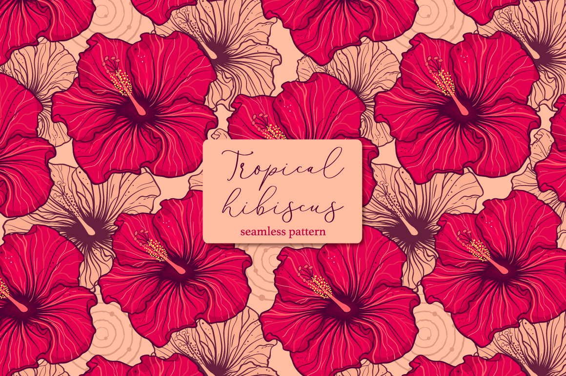 Tropical hibiscus.Seamless pattern example image 1