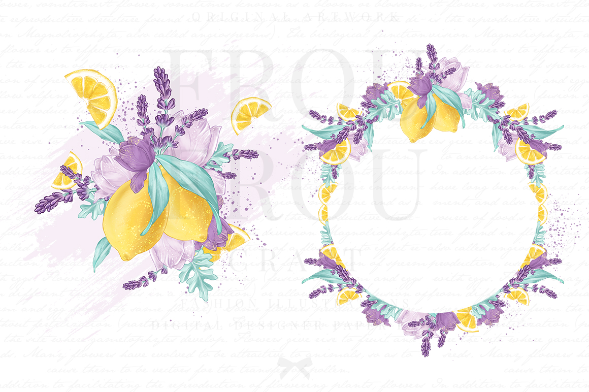 Lemons Fruits Lavender Citrus Purple Yellow Clip Art example image 3