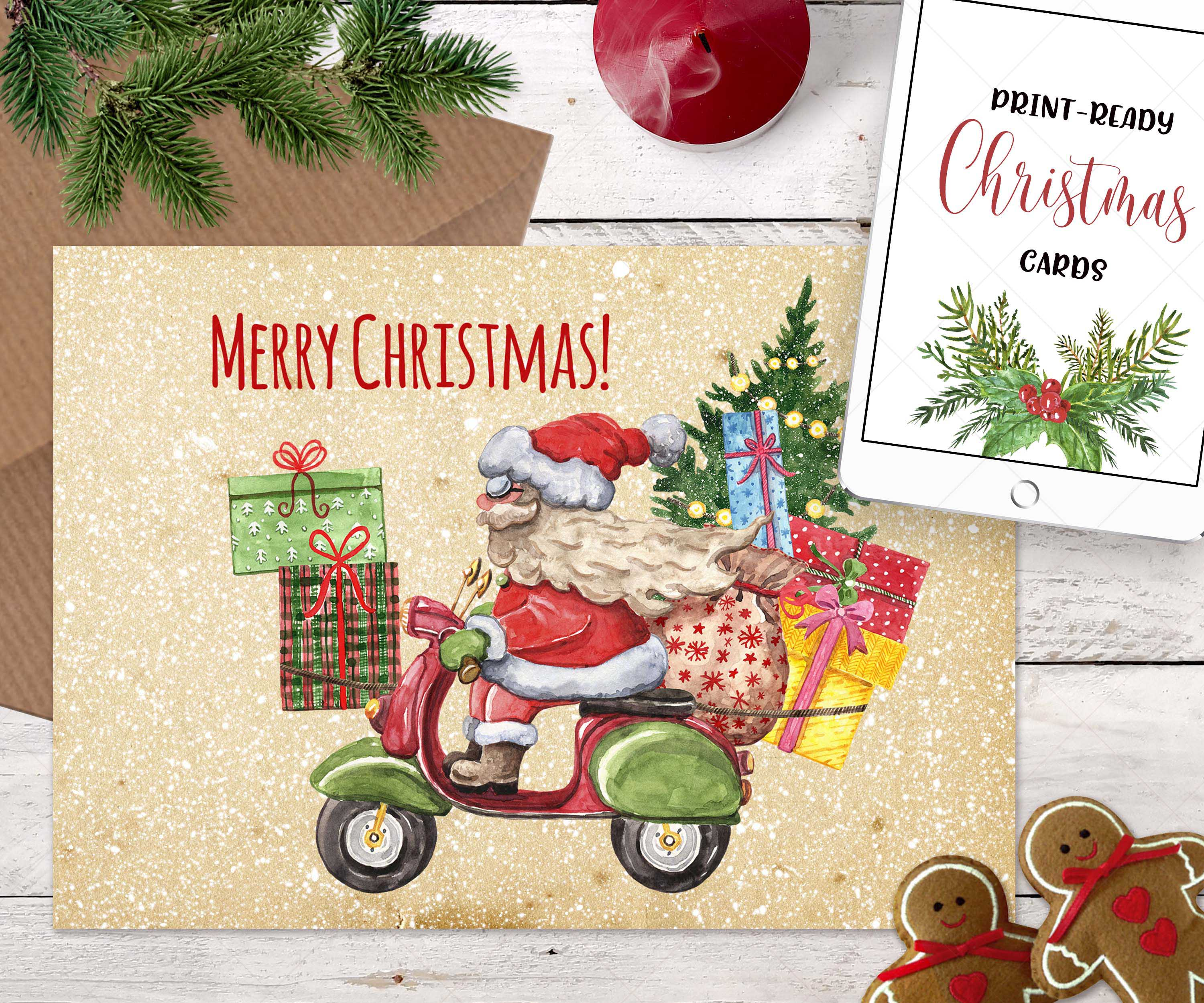 Watercolor Christmas Card Clip Art Holiday Card Set template example image 4