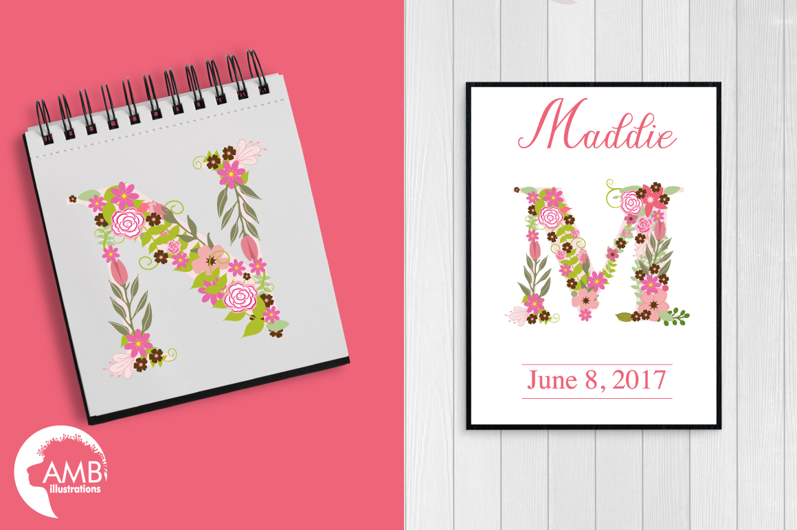 Floral alphabet clipart, graphics, illustrations AMB-1104 example image 4
