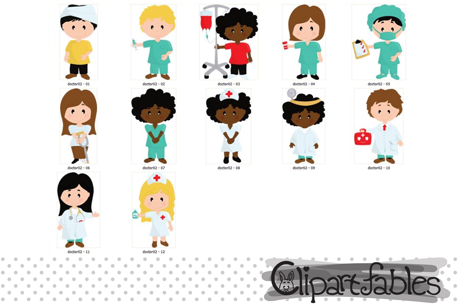 Cute doctor and patient clipart - INSTANT download example image 2