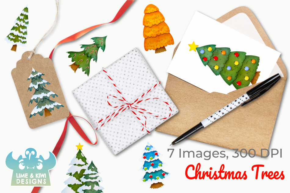 Christmas Trees Watercolor Clipart, Instant Download example image 4