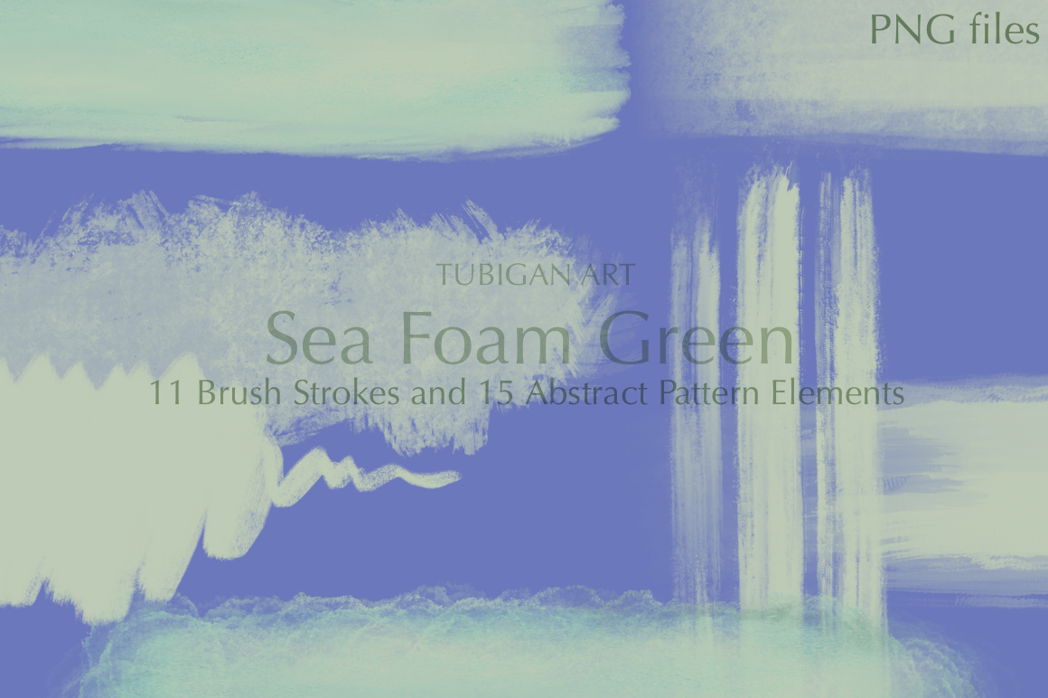26 Sea Foam Green Brush Strokes and Abstract Pattern Element example image 4