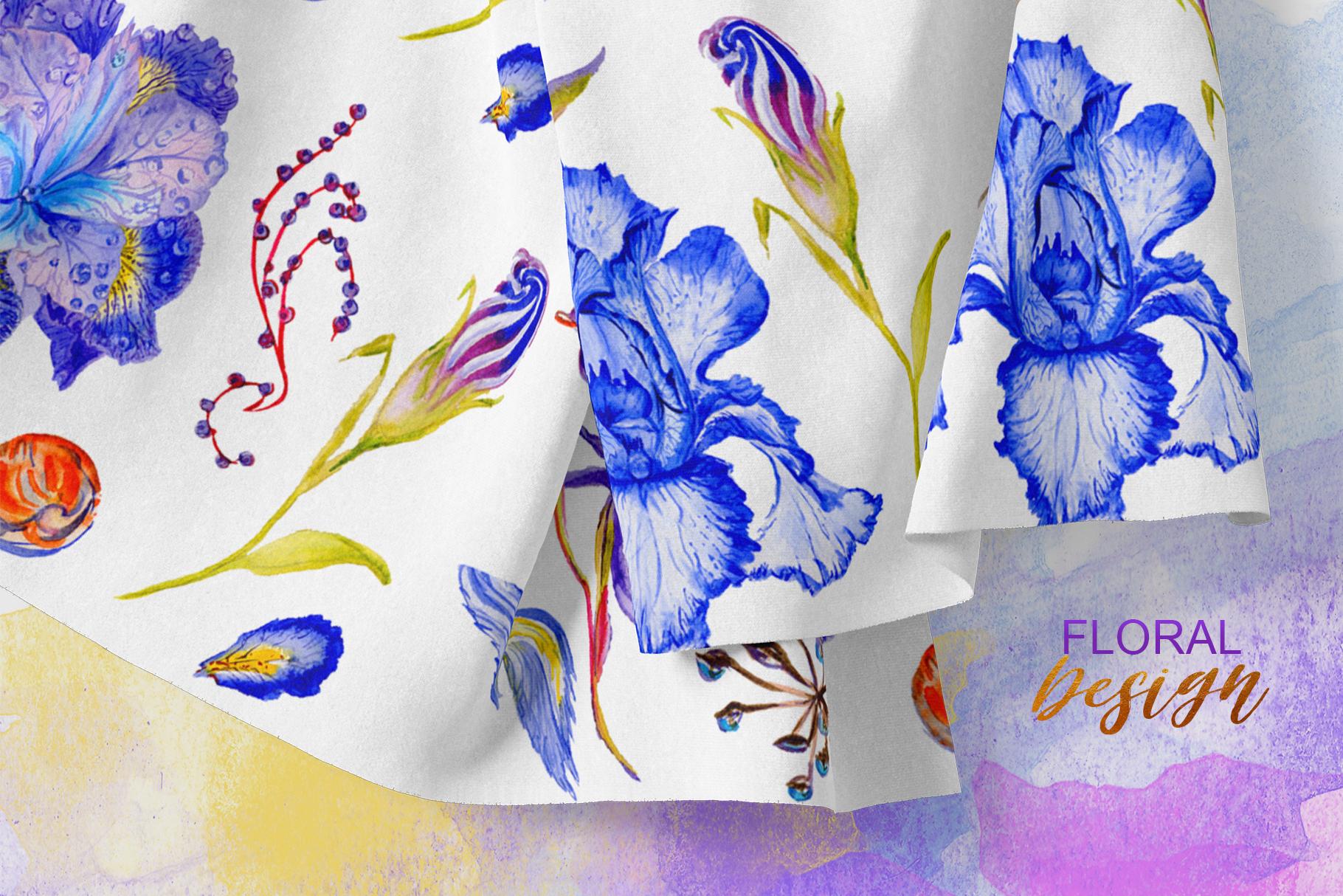 Iris blue Watercolor png example image 5