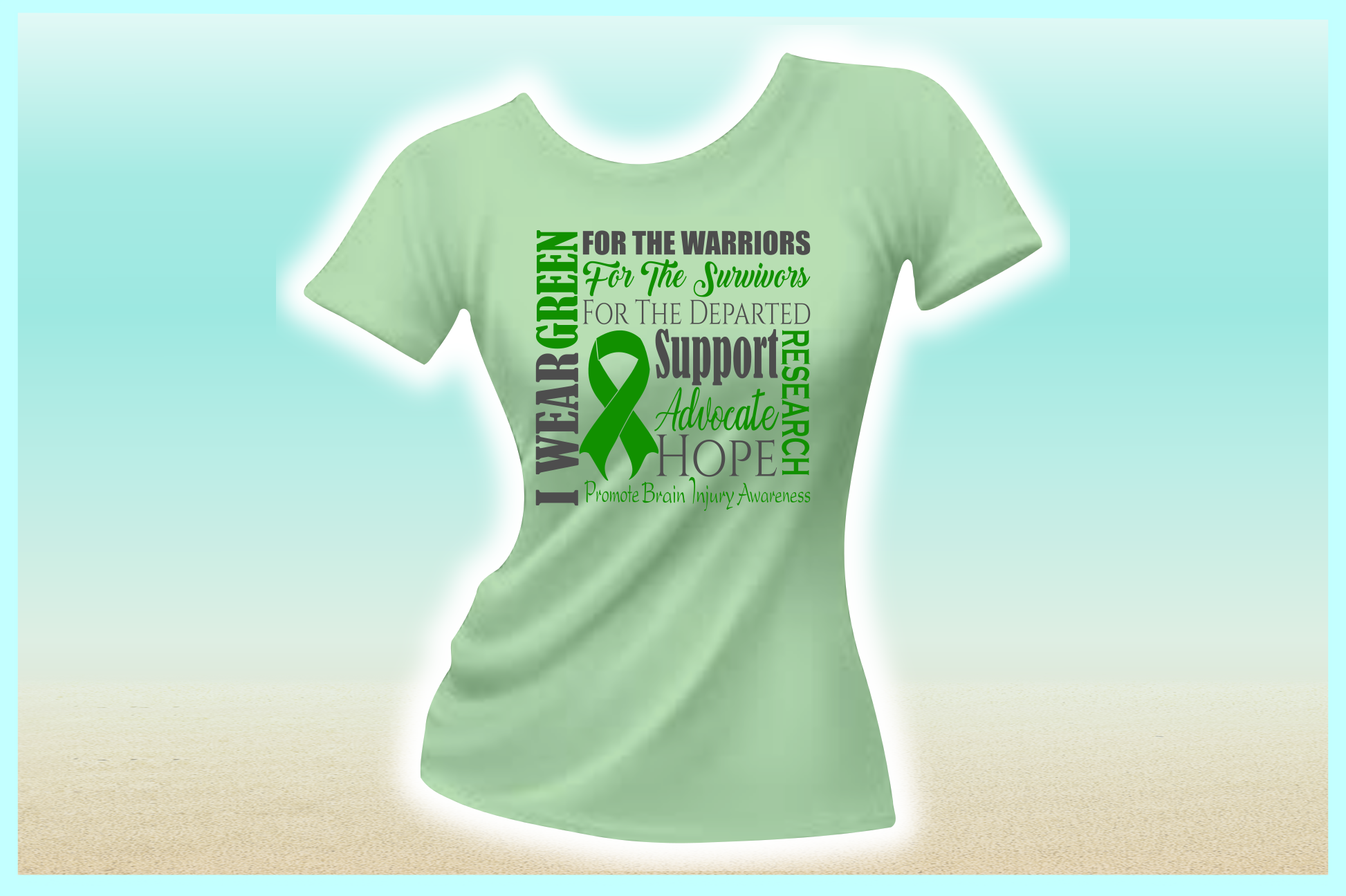 I WEAR GREEN Brain Injury Awareness SVG DXF EPS PNG PDF file example image 2
