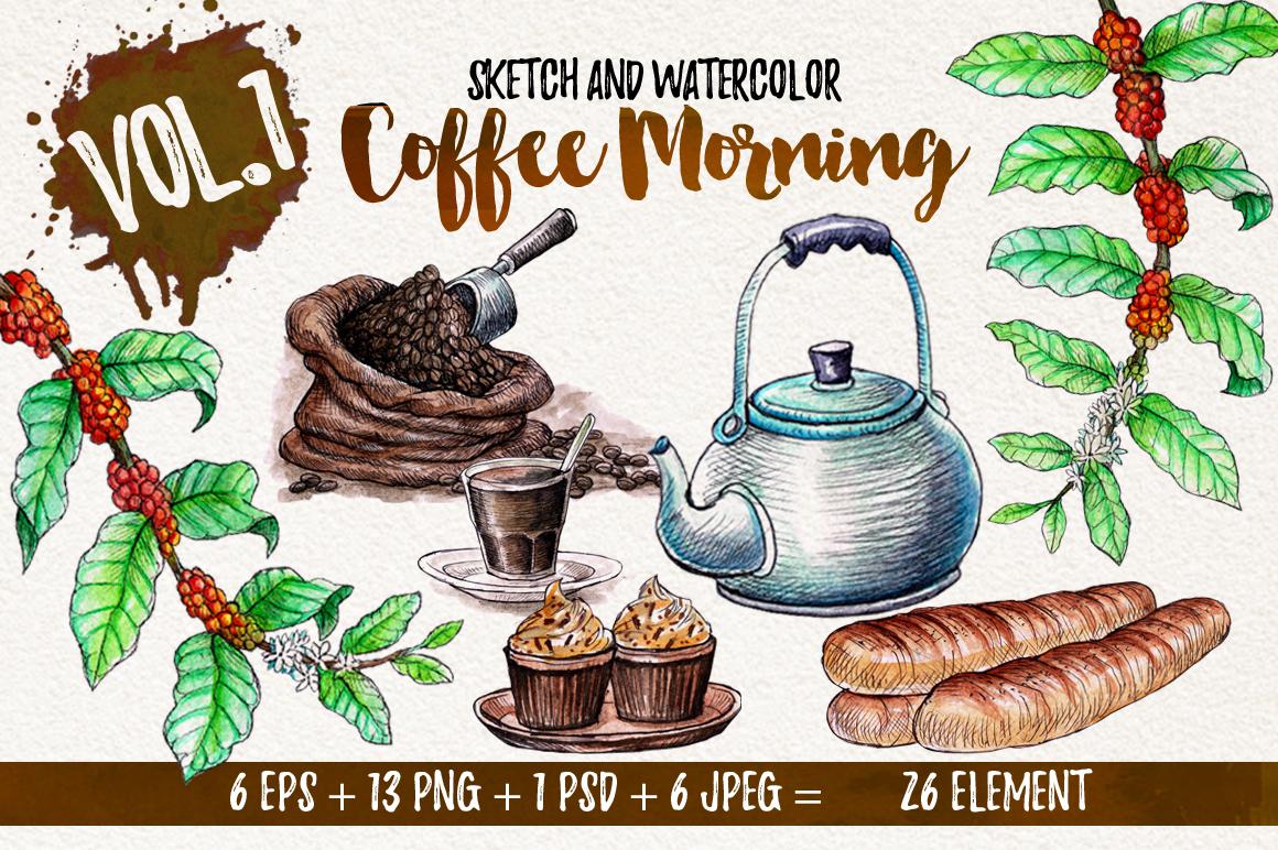 Watercolor Coffee (promo 50%) example image 1