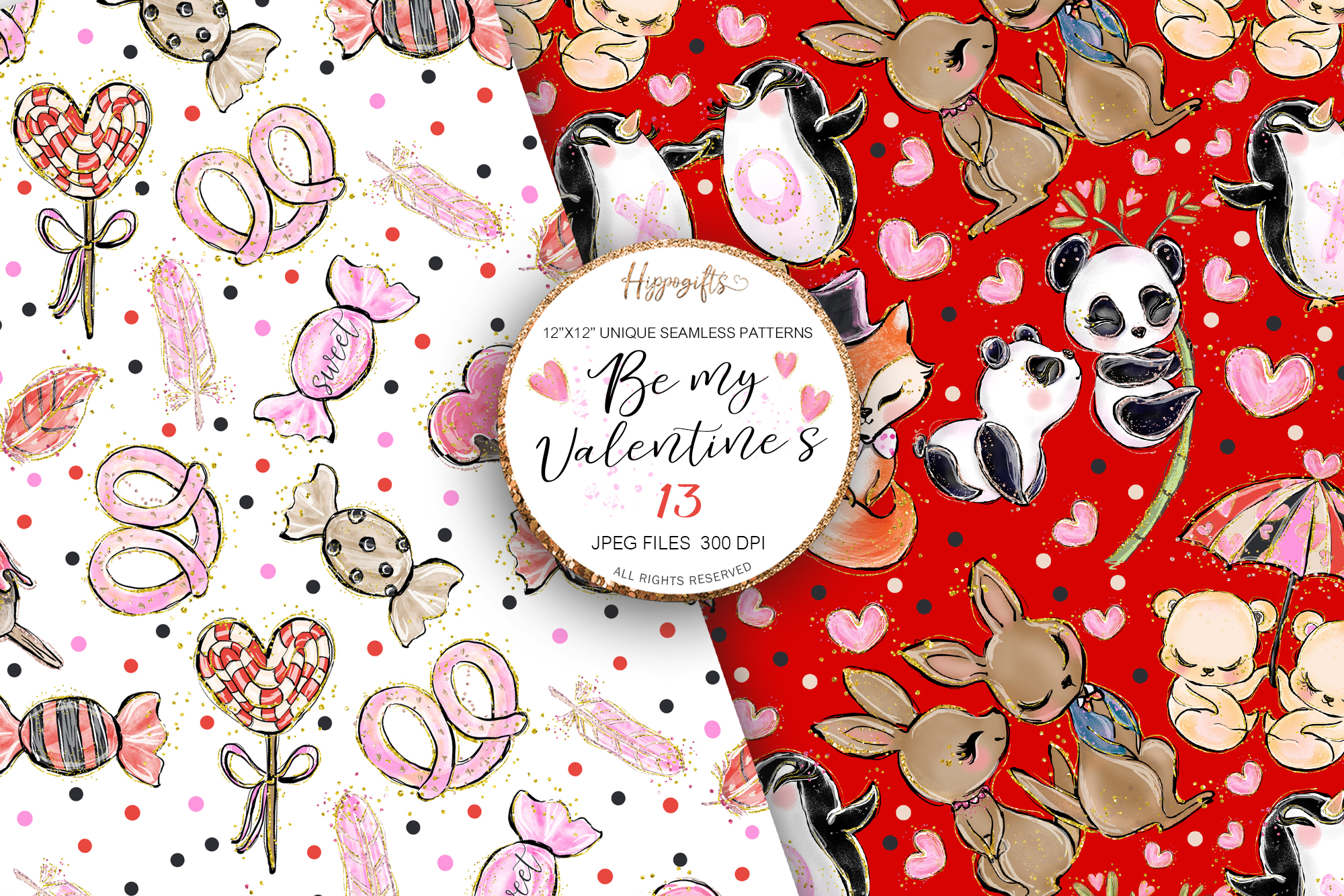 Valentine's patterns,Animal love,Love is in the air example image 6